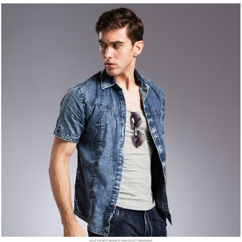 e07bd6be735 2014 Western Style Short Sleeve Men Denim Shirt Casual cotton European jean shirts  for Men-in Casual Shirts from Men s Clothing on Aliexpress.com