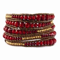 Lotus mann Graduated Red Coral Wrap Bracelet on Kansa Colored Leather