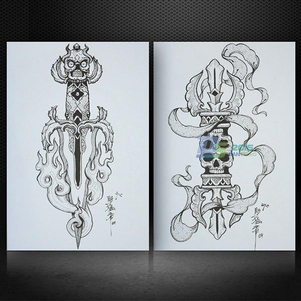 Us 17 71 Tibetan Skeleton Design Skulls Tattoo Book Flash Sketch Outline Hot 50 Page A4 On Aliexpress Com Alibaba Group