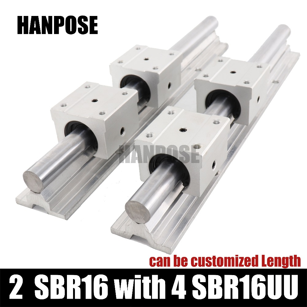 2 pcs SBR16-L linear guide Linear rail shaft support and 4 pcs SBR16UU linear bearing blocks for CNC parts