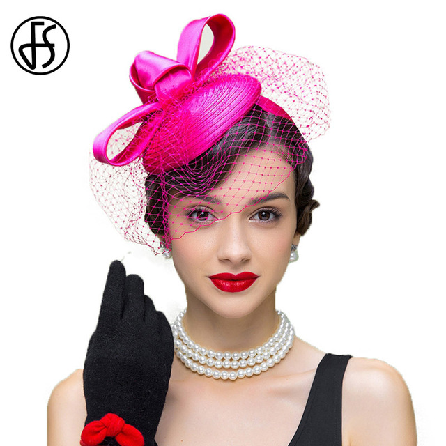 FS Mulheres Subiu Vestido De Casamento Chapéus Senhoras Fascinator Chapéu  Casamata com Véu Elegante Arco Senhoras b37dc179fe4