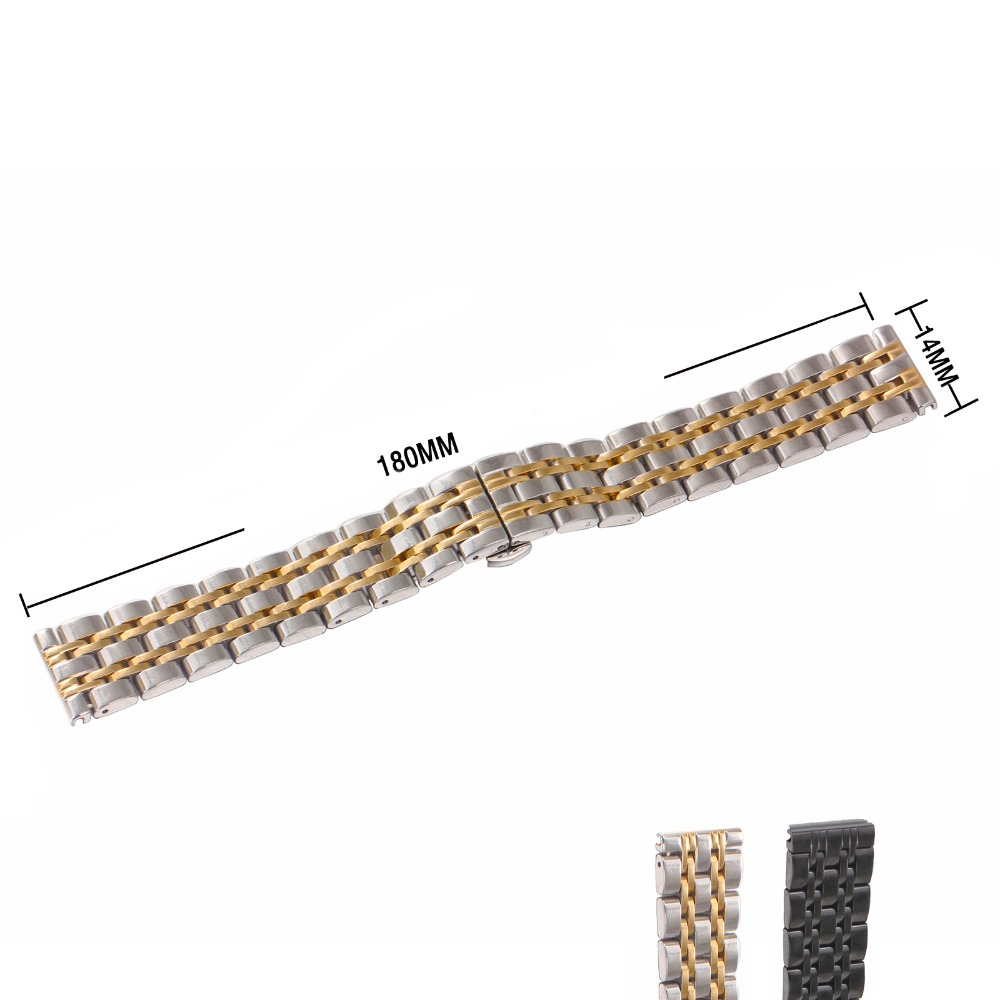 Top Brand Luxury Unisex Metal Strap Wristwatch Replacement Bracelet 14 16 18 20 22mm Silver Golden Stainless Steel Watch Band