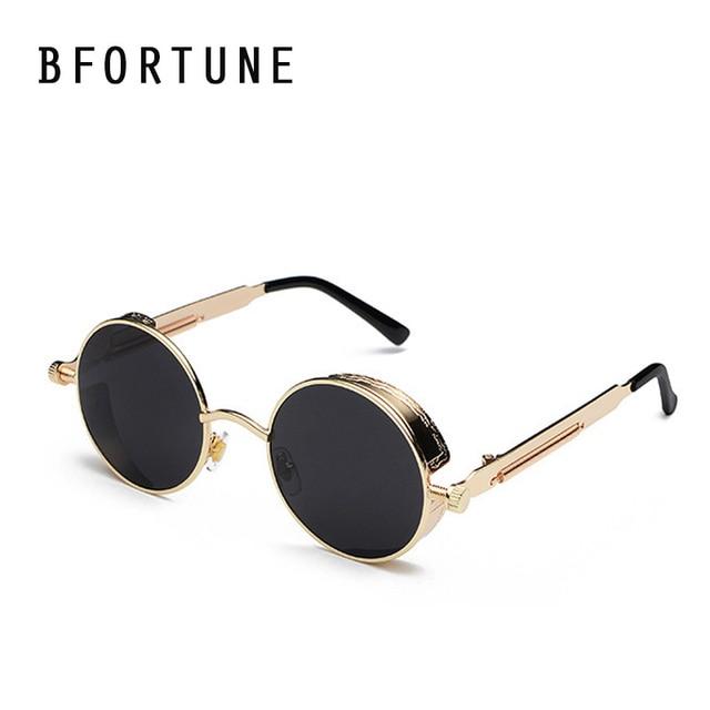 BFORTUNE Vintage lunettes de Soleil Rondes Steampunk Femmes Hommes Marque  Designer Rétro Shades UV400 Lunettes de 0eedc08b1601