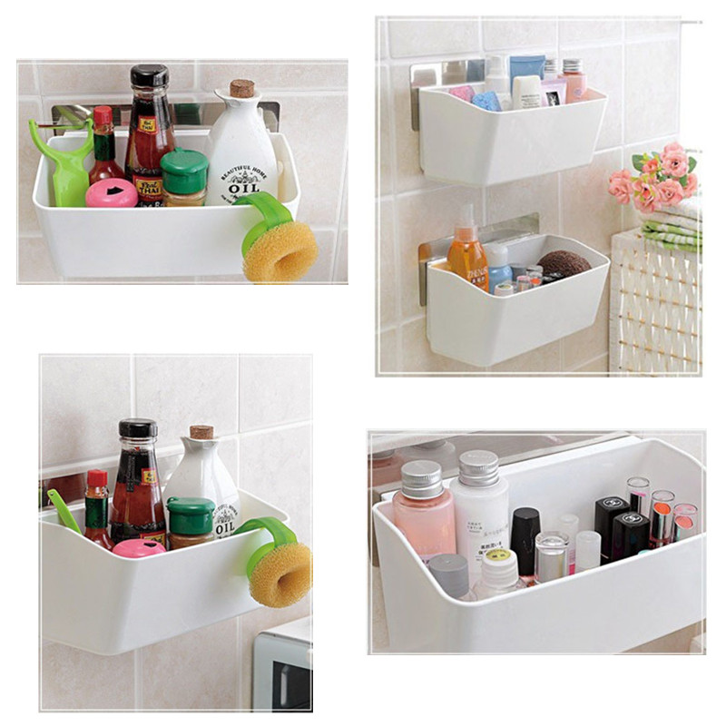 Aliexpress.com : Buy Self Adhesive Wall Mounted Type Big Storage Box Strong  Glue Kitchen Bathroom Toilet Shelves From Reliable Storage Box Suppliers On  ...