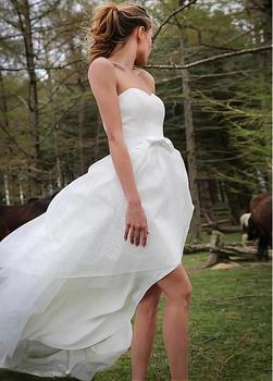 Hi Low Vestido De Noiva Wedding Dresses A-line Sweetheart Organza Bow Short Beach Boho Dubai Arabic Wedding Gown Bridal