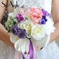 SoAyle Горячий продавать Свадебный Букет 2016 свадебные цветы свадебные букеты 25 см * 30 см buque noiva Высокого класса оригинал хотя ленты