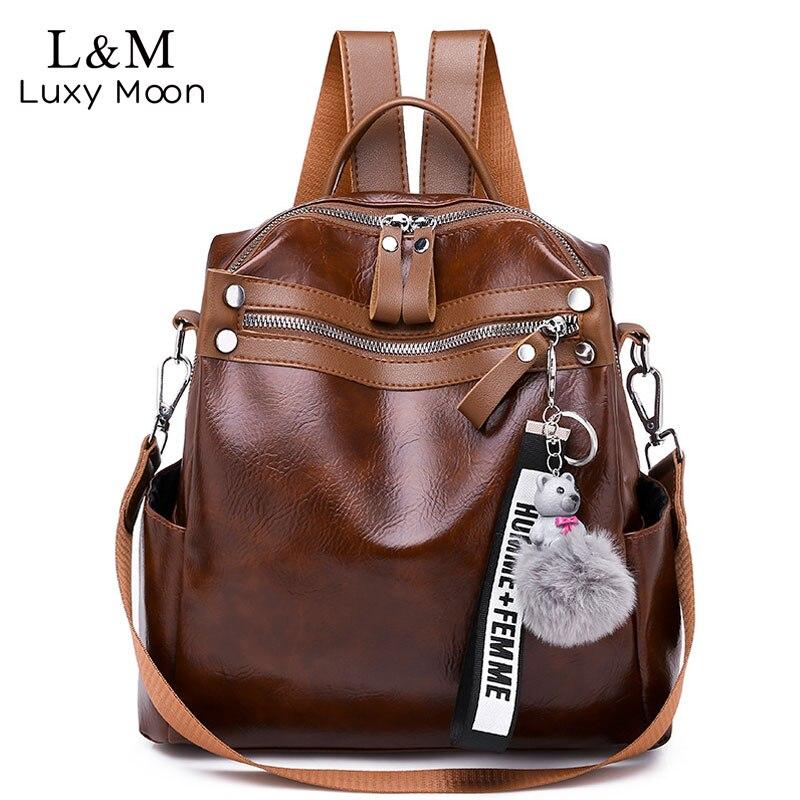e47c9825d04a Женский рюкзак большой емкости школьные сумки Универсальный кожаный рюкзак  для путешествий женская дизайнерская элегантная сумка на