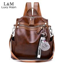 e4a9d45c7 Las mujeres mochila de gran capacidad de la escuela bolsas multifunción  cuero viaje mochila mujer diseñador bolso de hombro eleg.