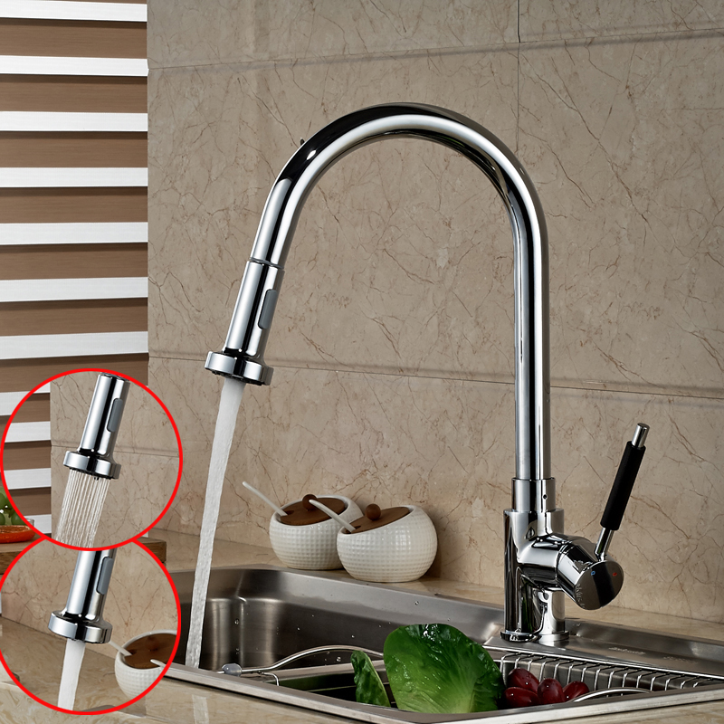 Chrome Finish Kitchen Pull Out Spryaer Head Mixer Taps Single Lever Brass Deck Mounted Kitchen Water