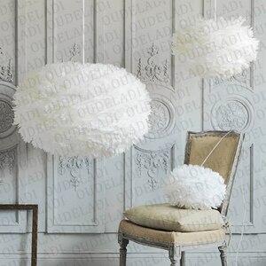 Image 4 - Moderne nordique blanc plume ronde pendentif lumières E27 décoration salle à manger chambre salon maison éclairage lampes