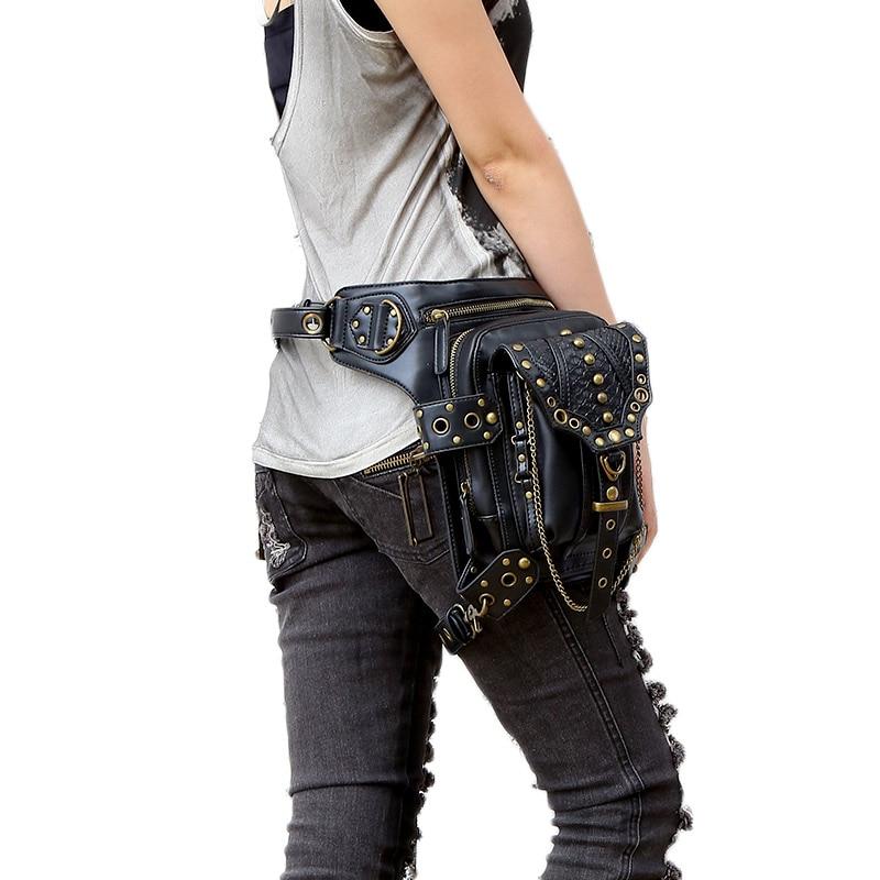 retro cintura de couro fanny Color : Black