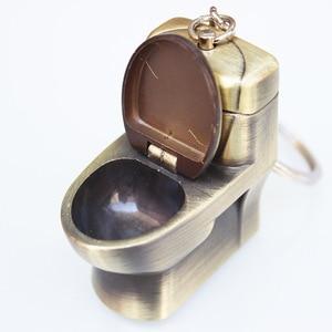 Image 5 - Briquet en Butane, porte clés pour toilettes, jouets créatifs, compacts, amusants, pour toilettes, bol pour toilettes, gonflé, chaîne métallique