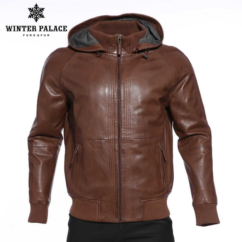 b8bdaac6699 Высококлассные моды новые продукты кожаная куртка из натуральной кожи с  капюшоном кожаная куртка мужская темно-