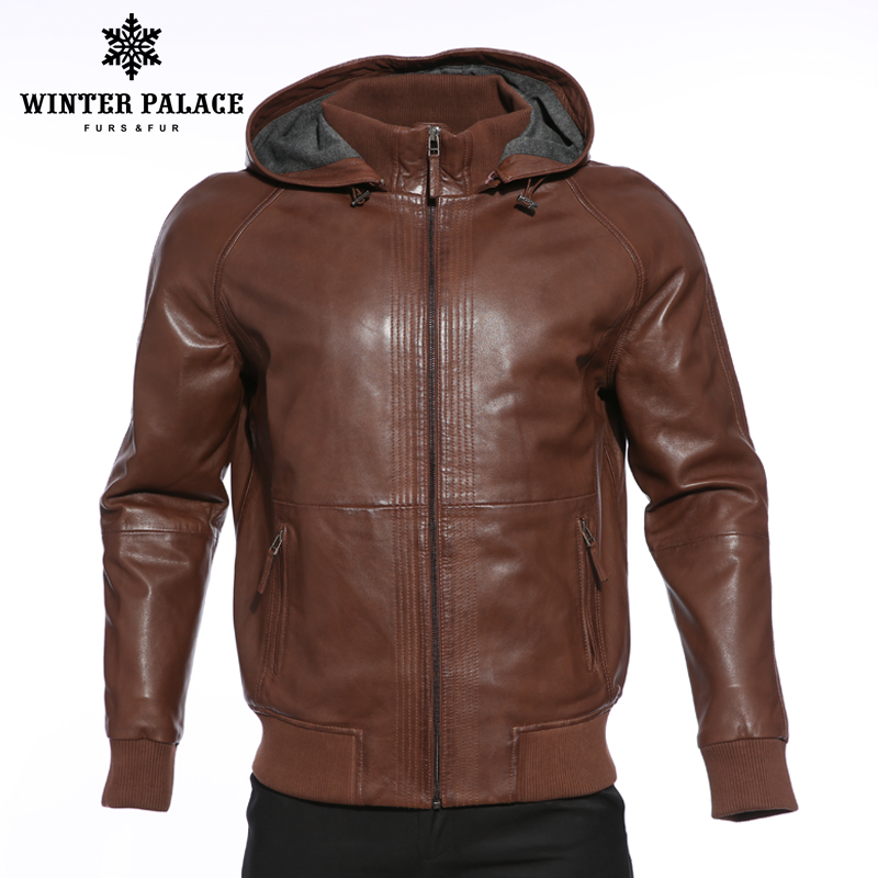 Erkek Kıyafeti'ten Hakiki Deri Montlar'de Lüks Moda yeni ürünler deri ceket Hakiki Deri Kapşonlu deri ceket erkekler Koyu kahverengi erkek DERİ CEKETLER ve mont'da  Grup 1