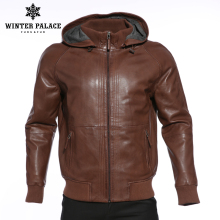 Upscale Fashion new products leather jacket Genuine Leather Hooded lea