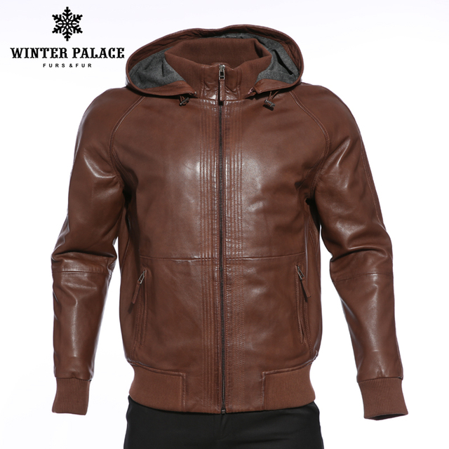 Upscale Fashion new products leather jacket Genuine Leather Hooded leather  jacket men Dark brown mens leather jackets and coats c73a9a83466
