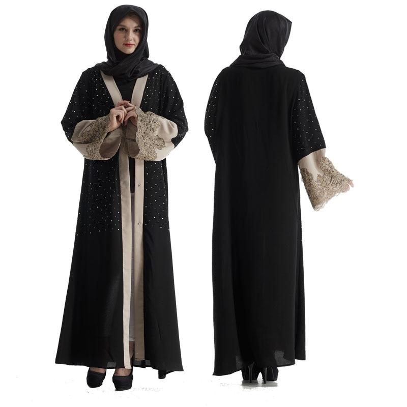 Dubai Style Women Open Front Cardigan Polka Dots Lace Jilbab Kaftan Abaya Muslim Robe Tassel Waist Belt Soft Chiffon Maxi Dress