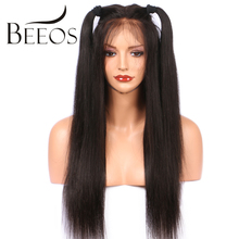 BEEOS 180 Density Full Lace Wigs For Black Women Silky Straight Brazilian Remy Hair Pre Plucked Glueless Wigs With Baby Hair