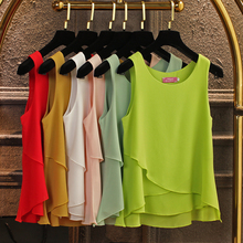 купить Women's Chiffon T-shirt Summer 2019 New Fashion Casual Solid color Ruffles Sleeveless Pullovers Tops Tees Loose T-shirts Female дешево