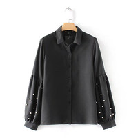 QPFJQD Woman Vintage Pearls Beading Black Shirts Lantern Long Sleeve Loose Chic Turn Down Collar Blouse