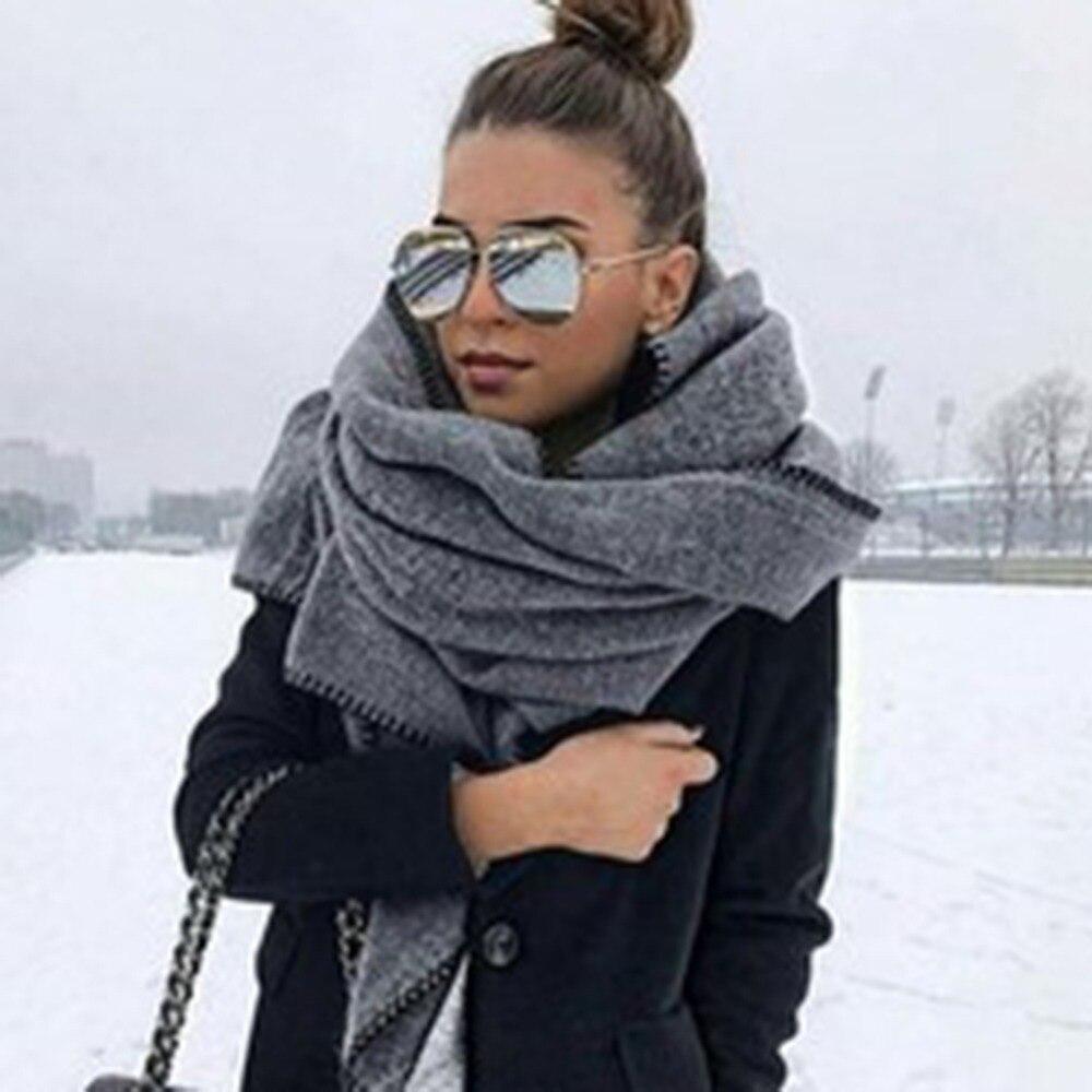 180*38cm Solid Color Winter Polar Fleece Big Scarf For Women Ladies Brand Warm Long Scarves Shawl Blanket Apparel Accessories