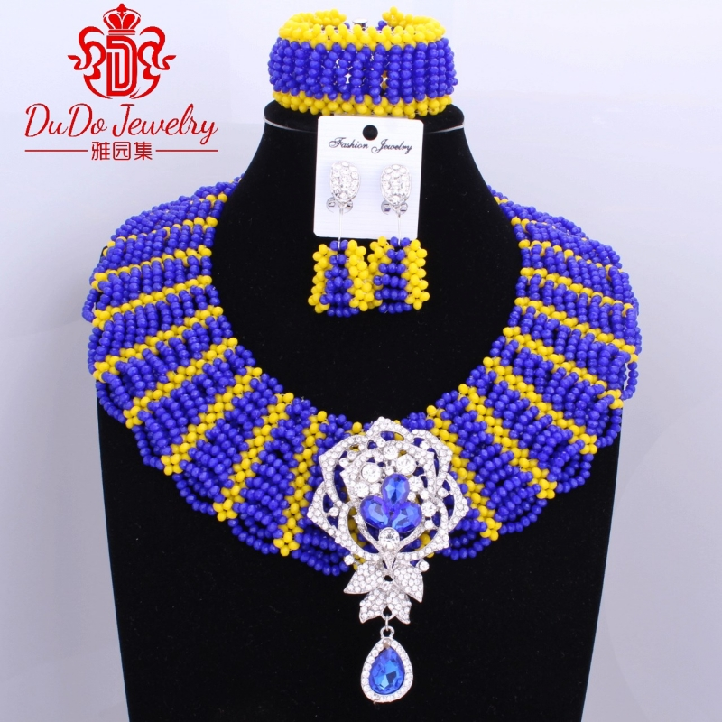 Amazing Royal Blue And Yellow Mix Color African Jewelry Sets Newest African Beads Supplier Nigerian Beads Sets Wedding Jewelry supplier blue grip 0 50