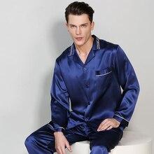 ผู้ชายฤดูใบไม้ผลิฤดูใบไม้ร่วงแขนยาวของแท้ผ้าไหมชุดนอน 2 ชิ้นชุด 100% ไหมผ้าไหมชุดนอนชายเสื้อผ้า T9010