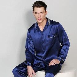 Man Lente Herfst Lange Mouwen Echt Zijden Pyjama Tweedelige Sets 100% Zijderups Zijde Nachtkleding Mannelijke Toevallige thuis Kleding T9010