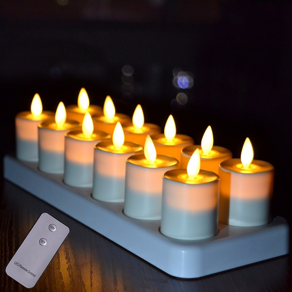 12pcs Rechargeable Led Tealight Votives Candles With