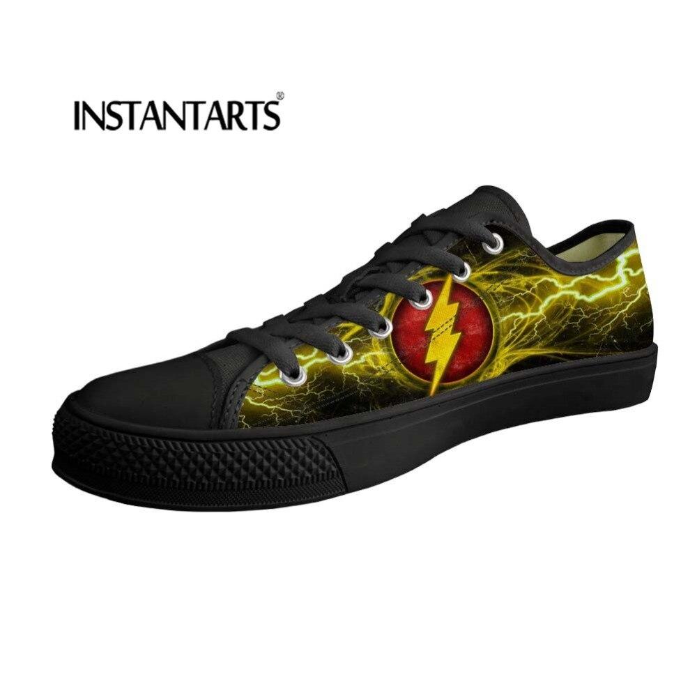 INSTANTARTS homme chaussures vulcanisées dessin animé Flash imprimé bas haut homme toile chaussures baskets basses homme chaussures printemps été 2019