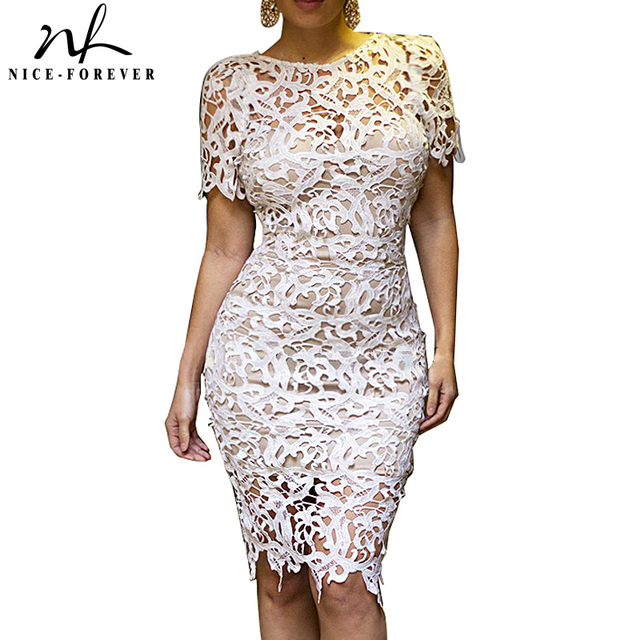 f9ecd0577984 Nice-forever White Lace Dress Women Hollow out Sexy Club Dress embroidery Crochet  Zip Back