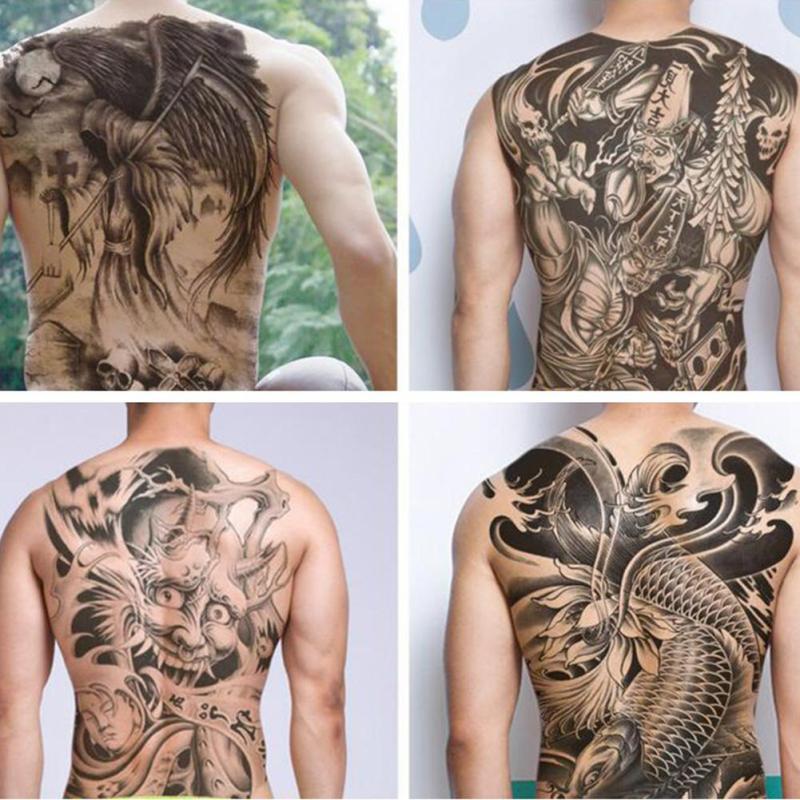 Large Black Carp Tattoos Men & Women Waterproof Big Temporary Tattoo Stickers Full Back Fake Tattoo YE10