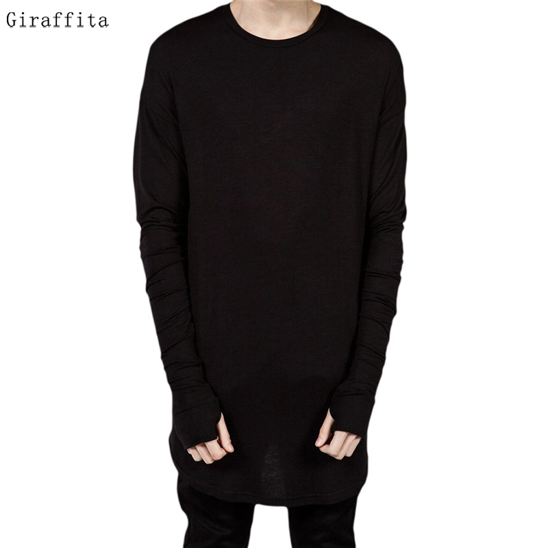 Fashion Thumb Hole Cuffs Long Sleeve Fashion Style Mens Side Split Tee T font b Shirt