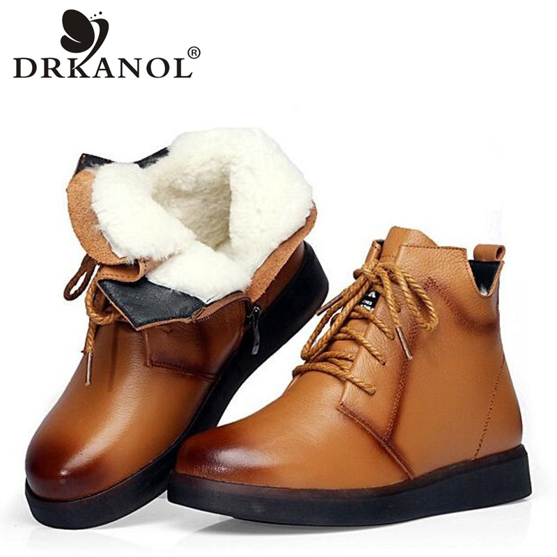 DRKANOL Brand Winter Boots Women Snow Boots Natural Thick Wool Warm Ankle Boots For Women 100
