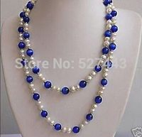 Wholesale 36 inches beautiful White pearl&Blue opal necklace