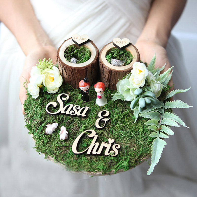 custom engagement marriage proposal wedding bearer rings box holder Manual rustic flower style ring pillow
