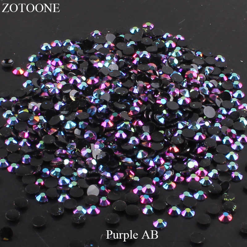 ZOTOONE FlatBack Non HotFix Resin Nail Art Black AB Rhinestones Strass Crystal Applique Glue On Stones For Clothes Decoration E