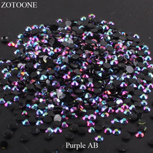 цена на ZOTOONE FlatBack Non HotFix Resin Nail Art Black AB Rhinestones Strass Crystal Applique Glue On Stones For Clothes Decoration E