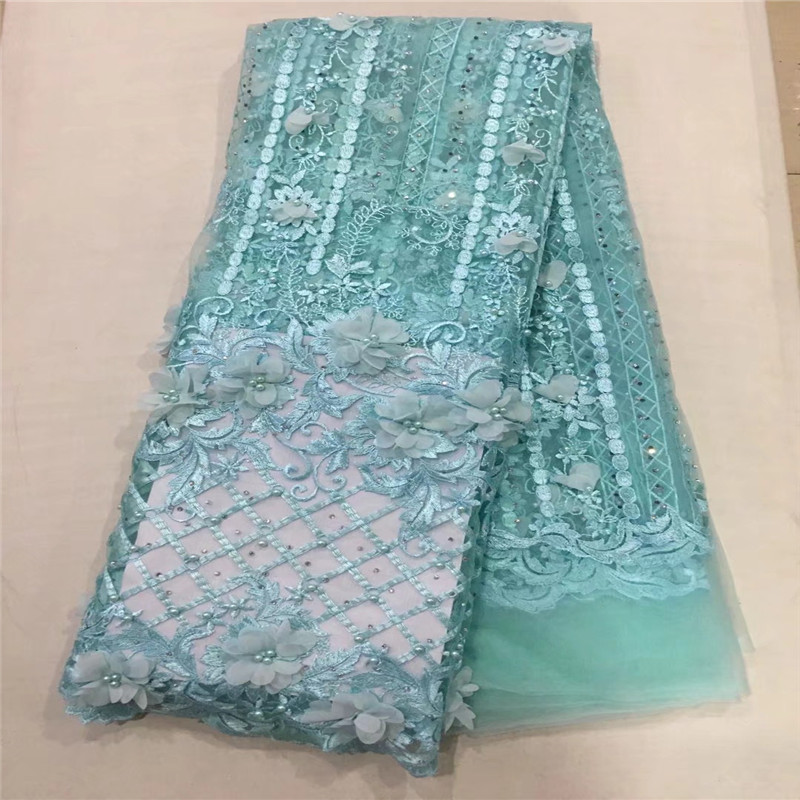 High Quality Aqua Net Lace African Fabric Beaded 3D Flowers Embroidered Tulle Fabric Mesh Lace Bridal French Lace Fabric X1330-4High Quality Aqua Net Lace African Fabric Beaded 3D Flowers Embroidered Tulle Fabric Mesh Lace Bridal French Lace Fabric X1330-4