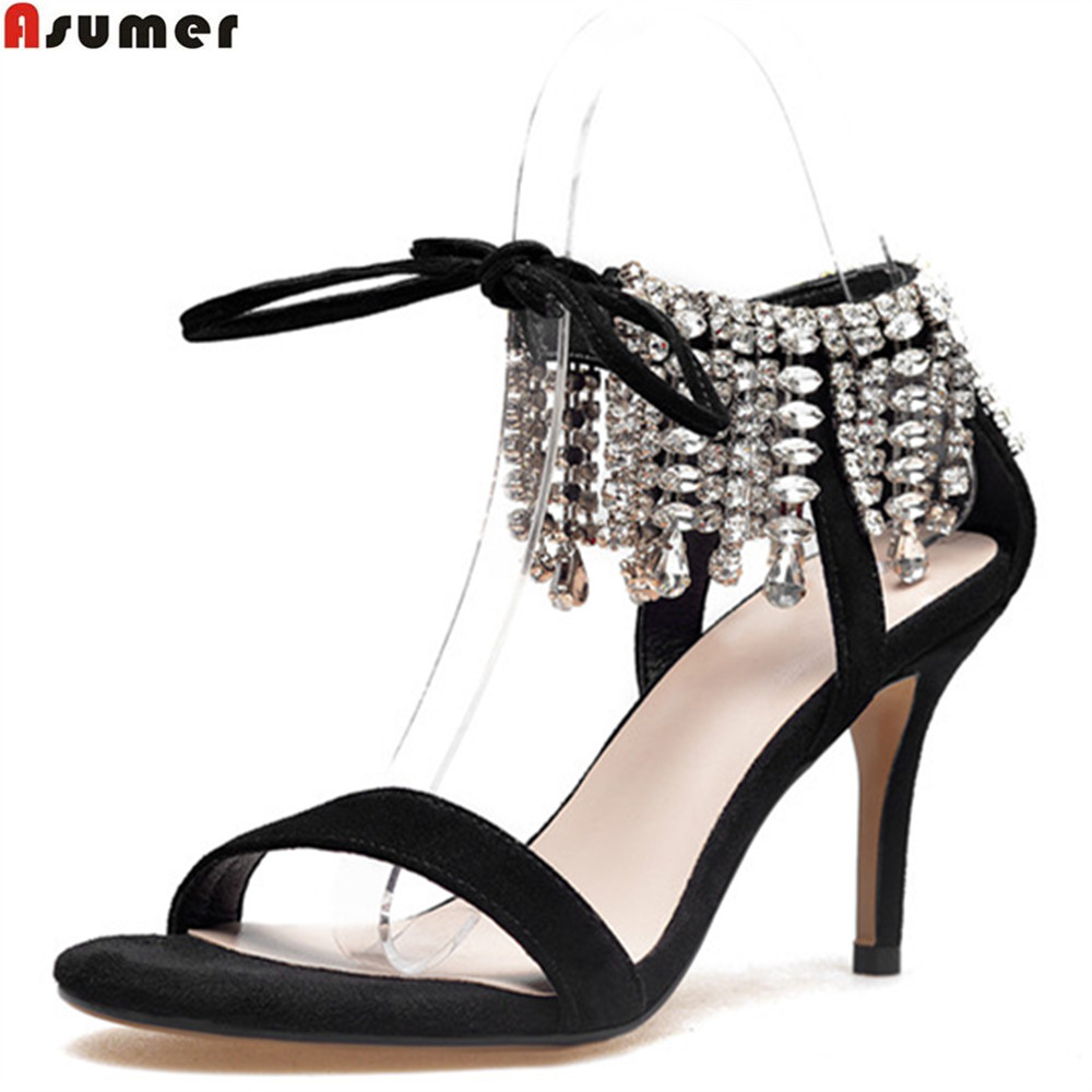 Asumer black fashion summer new arrival women sandals lace up crystal sexy ladies prom shoes elegant leather high heels shoes asumer 2018 summer new arrival women