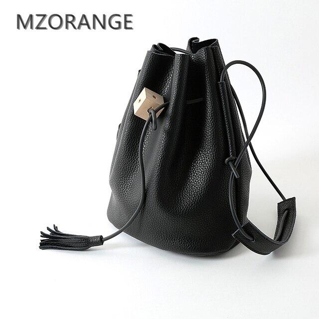 MZORANGE Vintage Design Fringe Bucket Bag 100% Genuine Leather Handbag  Unique log square Tassel Round Should bags crossbody bag