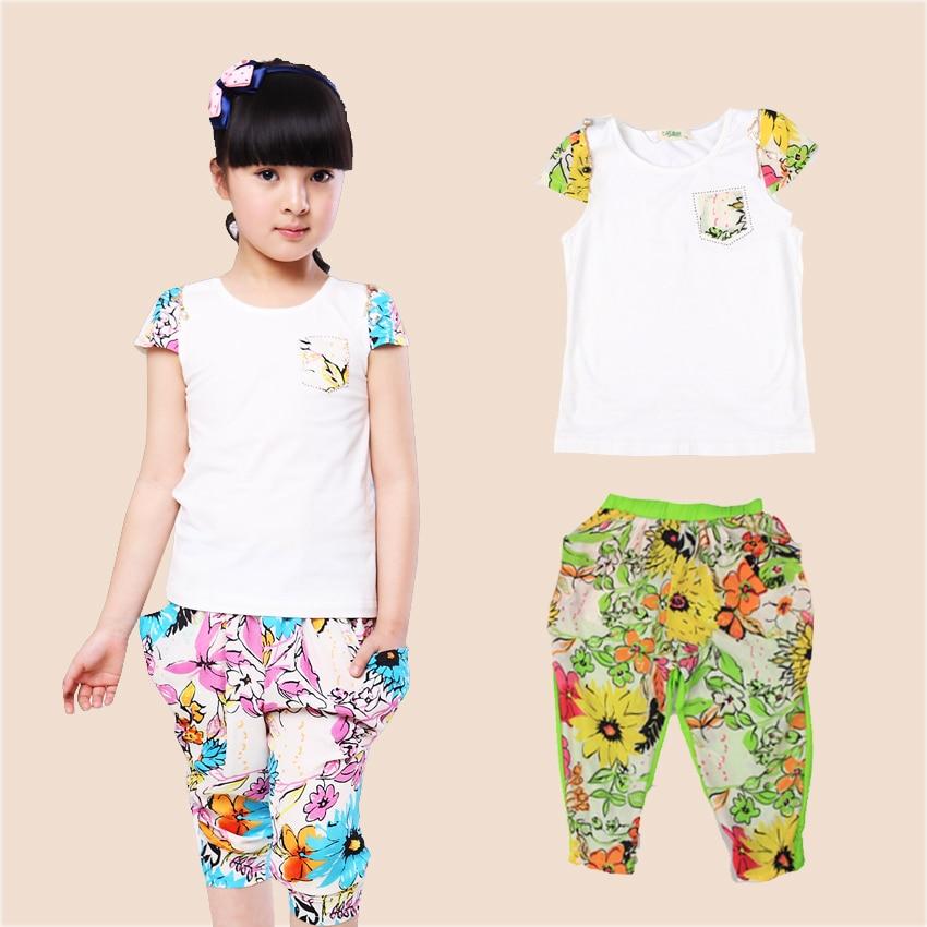 cc8cc5fbd الفتيات ملابس الصيف الفتيات الملابس مجموعات القطن عارضة س الرقبة طباعة  الزهور القميص و السراويل 2 قطع بدلة رياضية كبيرة للأطفال الملابس