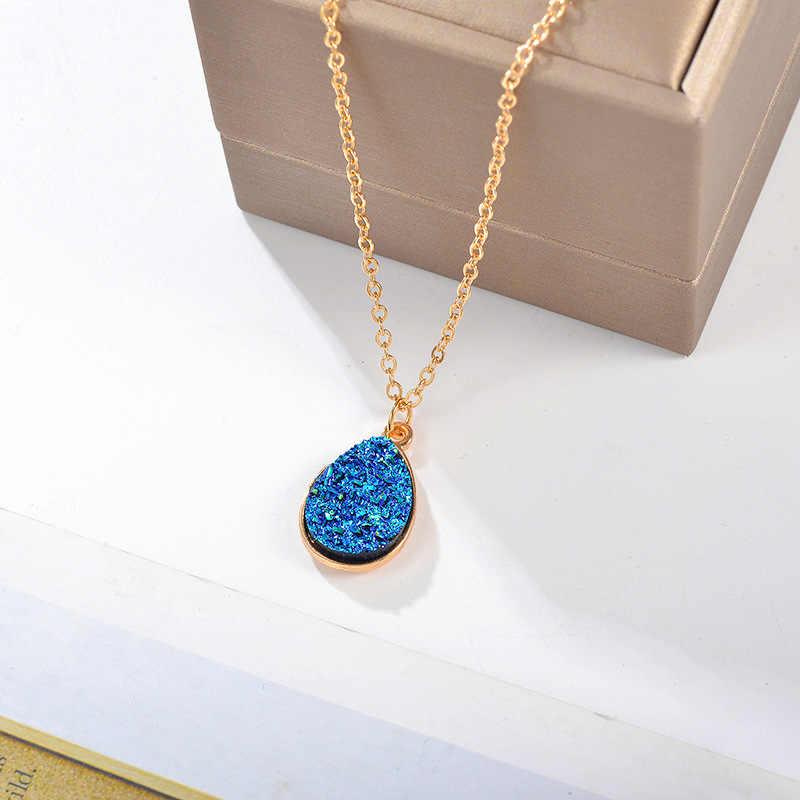 X094 クラシックデザイン水滴のペンダントネックレスゴールデンブルー石高級ジュエリー女性 Collares