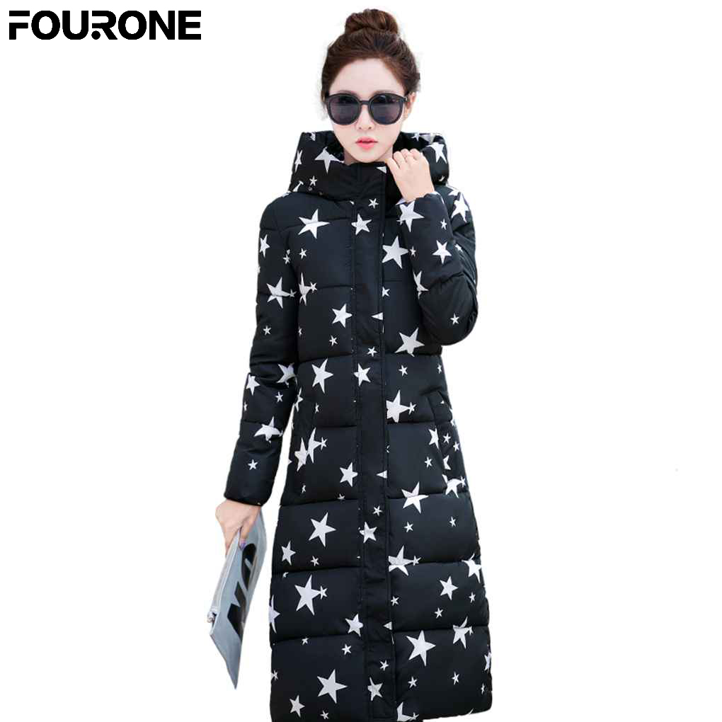 2017 Wome Winter Star Five-Pointed And glasses Star Printing Keep Warm Cotton Coat Hooded Long Thickening Warm Jacket europe and the united states long sleeve hooded keep out the cold winter to keep warm and comfortable cotton coat
