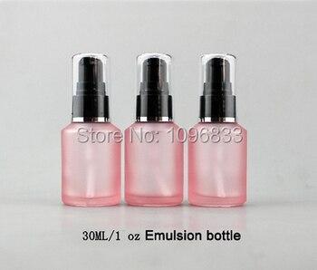 15ML 30ML Pink Emulsion Bottle Pink Frost Glass Lotion Pump Bottle, 0.5 OZ 1 OZ Cosmetics Essence Packaging Bottle, 20pcs/Lot
