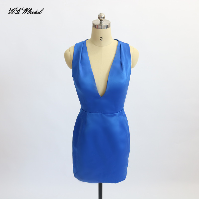 Sexy Blue Short   Cocktail     Dresses   2019 Deep V Neck Cap Sleeve Mini Sheath Prom Gowns Cheap Women Party Gowns Robe De Soiree