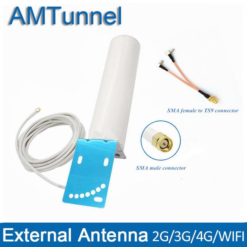 4G antena 3G antenne WIFI antennna SMA macho con cable de 5 m y SMA hembra a TS9/ CRC9/SMA conector macho para 3G 4G router modem