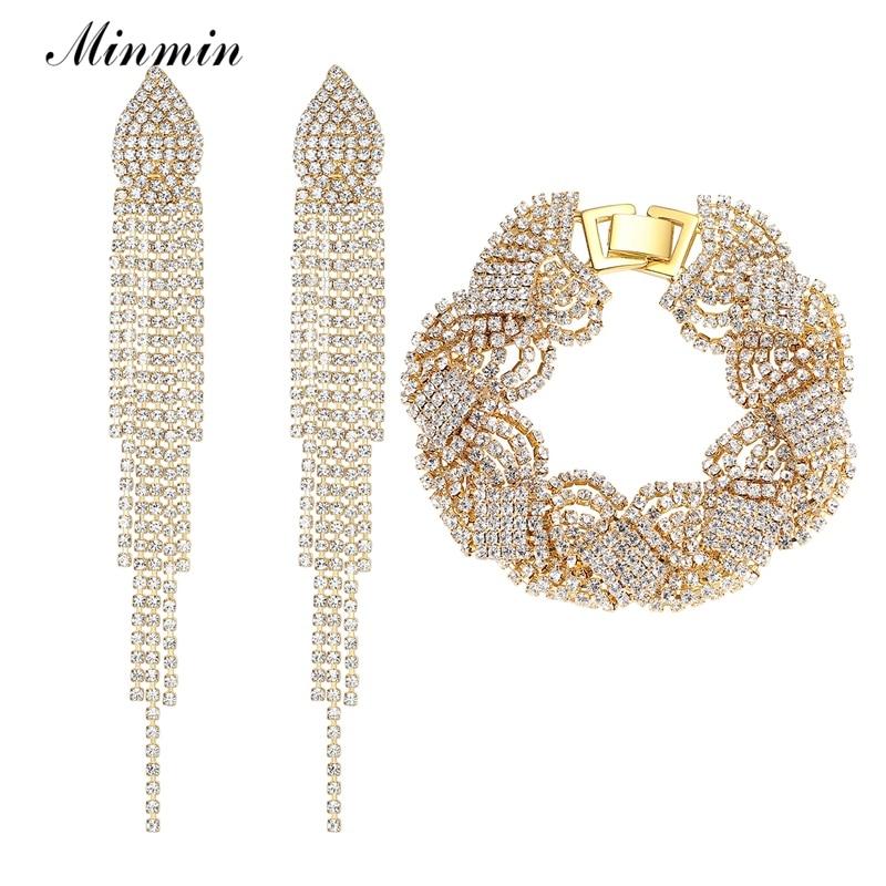 Minmin זהב צבע כלה קריסטל צמיד עגילי תכשיטי סטי החתונה טאסל נשים EH360 + SL076