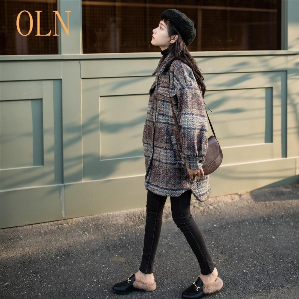 Lâche Automne Coréenne Laine Et Long Taille 2018 Plaid Version Moyen Grande Femmes Manteau Populaire Thermique Hiver De x6qxgCv