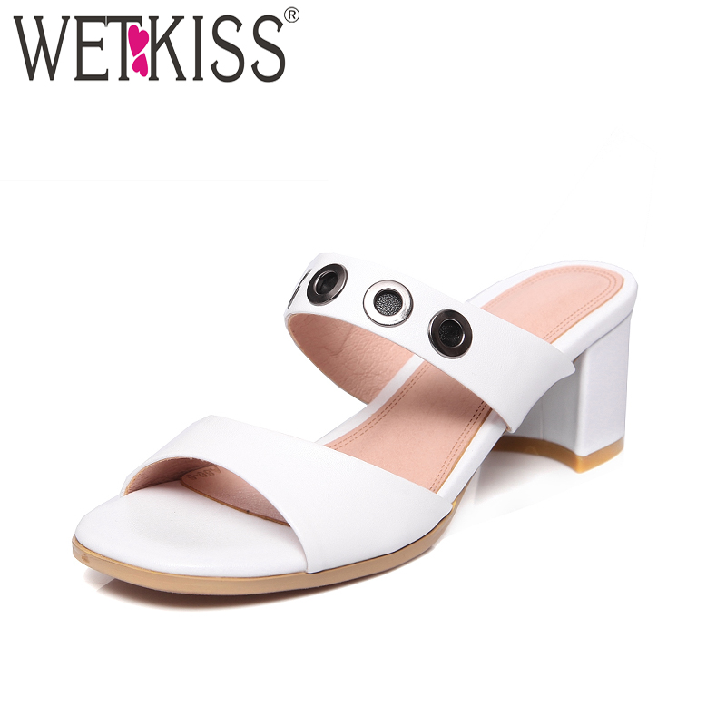 WETKISS Summer High Heels Women Slippers Open Toe Metal Decoration Footwear 2018 New Fashion Genuine Leather Ladies Mules Shoes wetkiss brand genuine leather mules fashion summer shoes leisure sewing thick high heels shoes sexy open toe woman slippers
